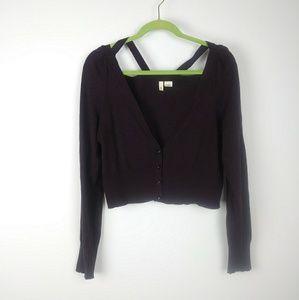 Anthropologie MOTH Maroon Knit Cardigan Size L